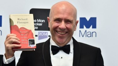 RIchard Flanagan winning the Man Booker Prize.