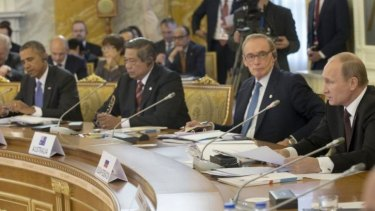 Former Australian foreign minister Bob Carr (second from right) at the G20 in September with US President Barack Obama, Indonesian President Susilo Bambang Yudhoyono and Russian President Vladimir Putin.