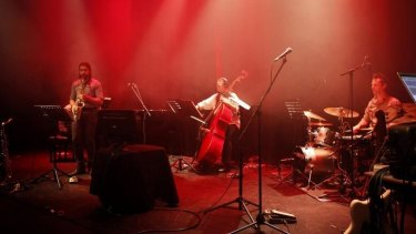 Joshua Hyde (saxophone), Anita Hustas (double bass) and Phil Collings (drums) perform Alexander Schubert's <i>Superimpose Cycle for Jazz Quartet and Electronics</i>.