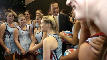 Opposition Leader Tony Abbott visits Sydney's Olympic Park to announce funding for a netball complex.