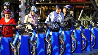 Melbourne's bike share scheme station at Melbourne University.
