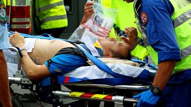 Injured: a cyclist has collided with a truck.