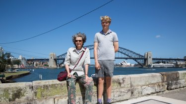 Blues Point Tower residents Frances Mullally and son Finn have grave concerns about building work.