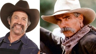 Uncanny ... Robert gives actor Sam Elliott a horse ride for his money.