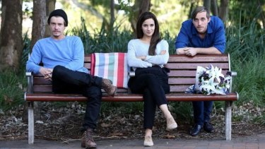 Xavier Samuel (left), Andrea Demetriades and Benedict Hardie are caught in love triangle in Belvoir's <i>The Dog/The Cat</i>.