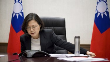 Taiwanese President Tsai Ing-wen, seen here on the phone with Donald Trump on Friday.