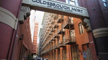 The scene of the death of Scott Lewis at the Goldsbrough Mort apartment complex in Pyrmont on Saturday.