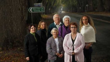 Heather Mui, Janie Garner, Gwen Rasdell, John Murphy, Heather Shugg, Katrina Bradfield and Belinda Dellios are opposing a roundabout on the Avenue of Honour in Bacchus Marsh.
