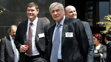 Moguls joining up: It's understood Kerry Stokes (front) is eyeing an investment in the peer-to-peer lender as part of a consortium with James Packer (left) and Lachlan Murdoch.