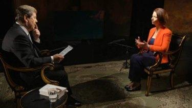 Julia Gillard speaks to Ray Martin on Tuesday night.