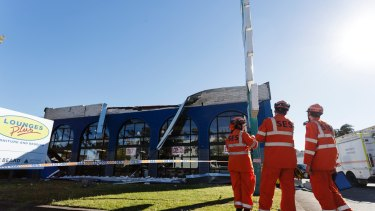 The SES has responded to 579 calls, including this roof collapse in Caringbah.