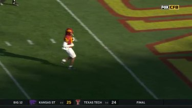 College footballer Xavier Hutchinson had a touchdown removed when referees judged his celebration to be excessive.