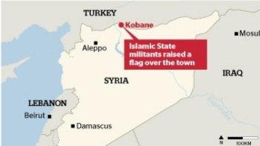 Flag raised: Kobane is a strategically important Syrian border town.