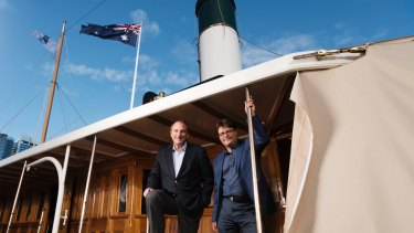 Telstra chair John Mullen (left) and Kevin Sumption, director and CEO of Australian National Maritime Museum, on the SY Ena last week.