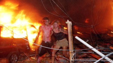 Hanabeth Luke (right) with Tom Singer moments after the blast.