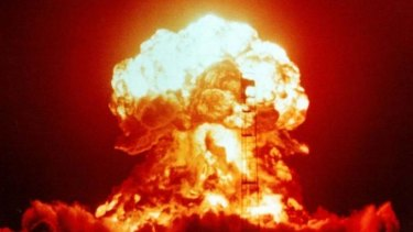 A nuclear explosion at the Nevada Test Site in 1953. A nuclear bomb dropped on North Carolina out of a B-52 on January 24, 1961 and luckily did not explode on impact.