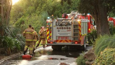 Firefighters had a difficult time getting water into the gardens to extinguish the fires.
