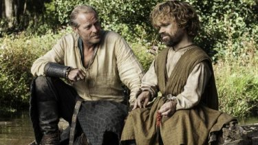 A would-be touching moment between Jorah and Tyrion if it wasn't for the slavers.