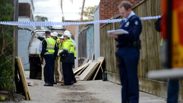 The scene of the Hawthorn Road building collapse in Caulfield.