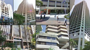 Government buildings beings sold off (clockwise from top left): David Longland Building at 81 George Street; Education House on Mary Street; Mineral House at 41 George Street, Brisbane; 33 Charlotte Street; 61 Mary Street; and Primary Industries Building at 80 Ann Street.