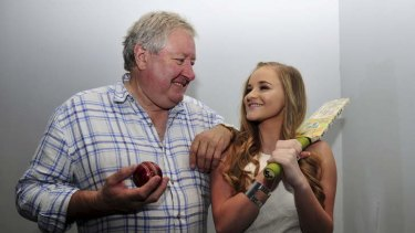 Actor John Wood with local actor Maddison Smith, 15 of Gowrie who played the character of Kerrie in the movie Backyard Ashes.