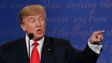 """Republican presidential nominee Donald Trump blames that """"nasty woman"""" and the """"bad hombres"""" during the last debate."""