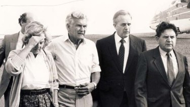 ''Proud Labor man'' ... Lionel Bowen, second right, arrives with Hazel Hawke, Bob Hawke and the MP Peter Morris on the scene of the Newcastle earthquake in December 1989.