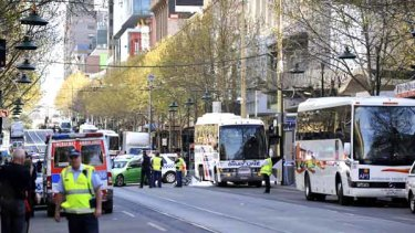 The scene of this morning's accident on Swanston Street.