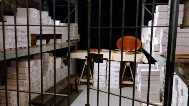 The wine cellar where 1200 bottles of wine from the Elysee Palace cellar are stocked prior to be sold during an auction in Paris.