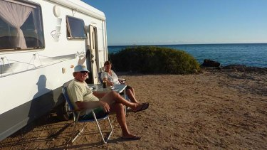 """Life's one big holiday for us now that we're retired"": John and Elaine Tickner spend months at a time travelling Australia in their caravan."