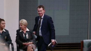 Labor MP Nick Champion leaves the chamber under 94a. Photo: Alex Ellinghausen
