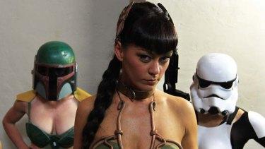 Star Wars never so sexy … Princess Leia (Tasia), Boba Fett (Billy Bradshaw) and Stormtrooper (Kiki Corianderin), who will perform at Newtown's Vanguard tomorrow night.