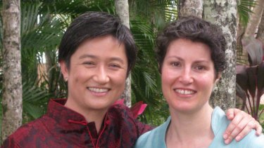 Penny Wong and her partner Sophie Allouache.
