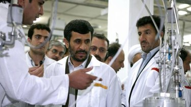 President Mahmoud Ahmadinejad, shown visiting the Natanz uranium enrichment facility south of Tehran, has talked up his nation's nuclear potential.