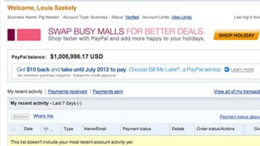 A screenshot of Louis CK's PayPal account, which he published on his website.
