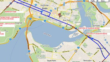 Possible routes for a light rail network running through the Perth CBD.