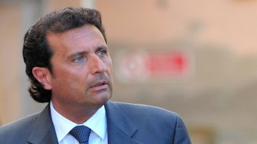 'Captain Coward' ... prosecutor Stefano Pizza has asked the judges to show Costa Concordia's captain Francesco Schettino, pictured, 'no pity'.