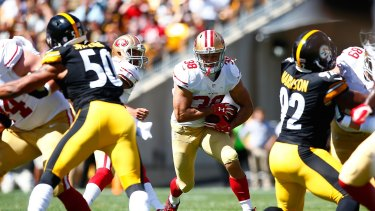 Reality check: Jarryd Hayne got limited opportunities as the 49ers fell to Pittsburgh.
