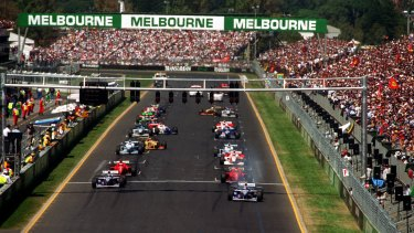 The start of the 1996 Australian Grand Prix, Melbourne.