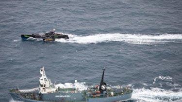 Sea Shepherd's Gojira pursues Japanese Antarctic whale research vessel Yushin Maru No. 2 in Antarctic waters earlier this month.