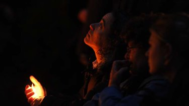 A mourner at the vigil for Jill Meagher in Brunswick tonight.