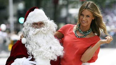Jennifer Hawkins at the Myer Christmas parade.