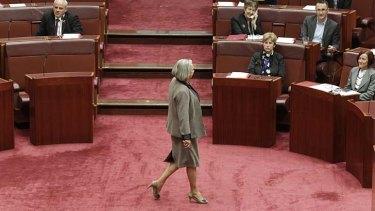 Liberal Senator Sue Boyce crosses the floor. The division was lost.
