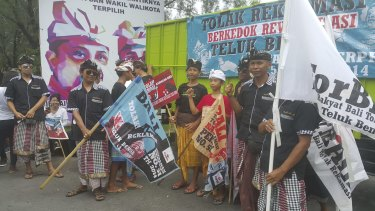 Protesters campaign against proposed Benoa Bay project in Bali last month.