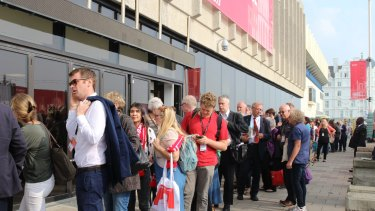 Labour Party members queuing to hear Jeremy Corbyn's speech.