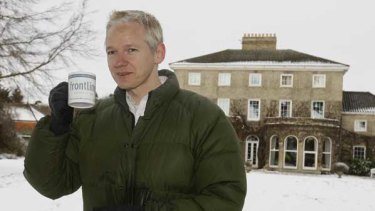 Julian Assange at the country home where he is staying after being granted bail in the High Court.