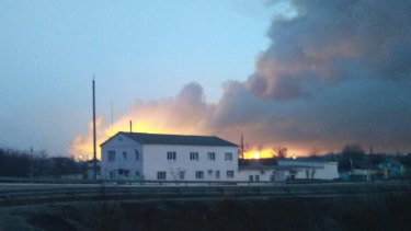 Ukrainian officials say the massive fire that prompted the evacuation of 20,000 has been caused sparked by sabotage.