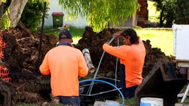 Workers install cables for the national broadband network.