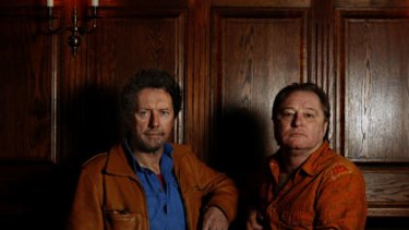 Kerryn Tolhurst (left) and Chris Stockley, guitarists in the Australian country rock band The Dingoes.
