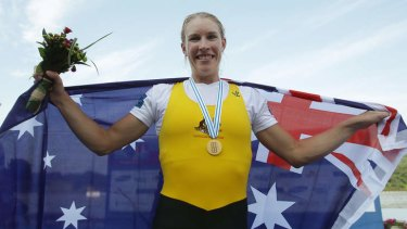 Kim Crow poses with her gold medal after the women's single sculls final during day eight of the 2013 World Rowing Championships in Chungju, South Korea.